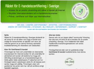 E-handel: Rådet för E-handelscertifiering i Sverige
