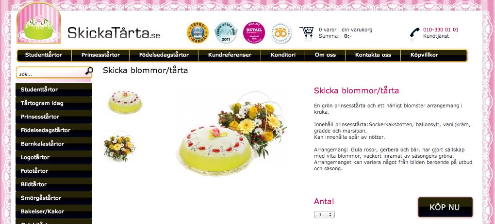 Skicka blommor och tårta, det är vi först med i Sverige!